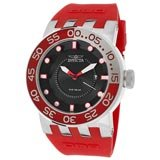 Invicta 12421 Men's DNA Diver Black Dial Red Rubber Strap Stainless Steel Watch
