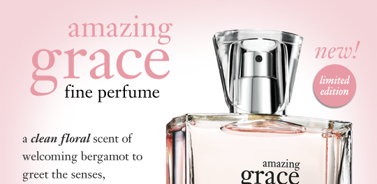 new! limited edition amazing grace fine perfume a clean floral scent of welcoming bergamot to greet the senses, irresistibly soft, clean muguet blossoms and lasting musk with its classic beauty.