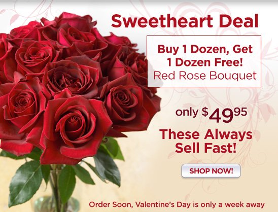 Valentine's Day Red Rose BOGO