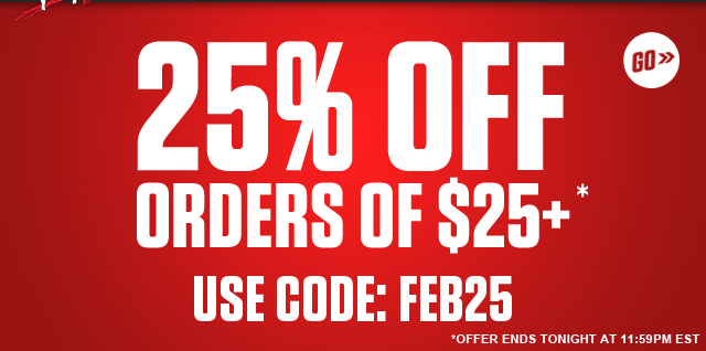 25% off orders $25+ - Shop Now!