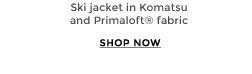 Ski jacket in komatsu and Primaloft® fabric