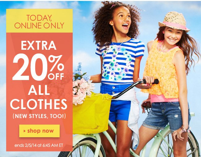 Extra 20% off all clothes