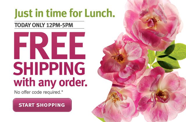 just in time for lunch. today only 12pm-5pm. free shipping with any order. start shopping.