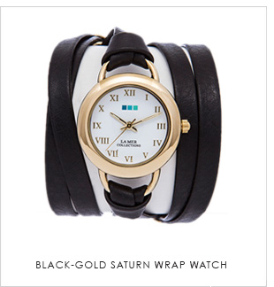 Black-Gold Saturn Wrap Watch