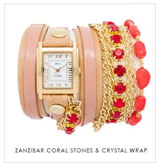 Zanzibar Coral Stones & Crystal Wrap
