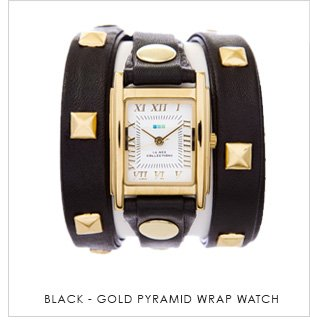 Black-Gold Pyramid Wrap Watch