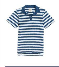 Indigo Dye Stripe Polo