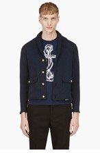 THOM BROWNE Navy Shawl Collar Cardigan for men