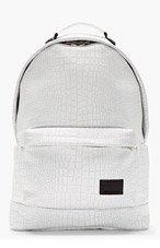 KRISVANASSCHE White Etched Croc Pattern Backpack for men