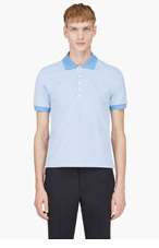THOM BROWNE Blue Placket Accent Polo for men