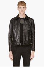 SAINT LAURENT Black Leather Classic Fringed Jacket for men