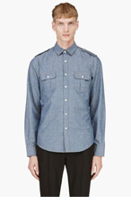 SAINT LAURENT Blue Classic Chambray Shirt for men
