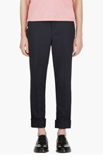 THOM BROWNE Navy Slim Fit Trousers for men