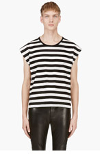 SAINT LAURENT Black & Ivory Striped Tank Top for men