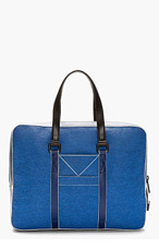 KENZO BLUE Etched Leather BRIEFCASE for men