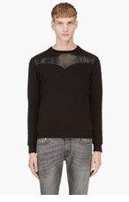 SAINT LAURENT Black Crewneck Leather Trim Sweatshirt for men