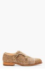 AUTHENTIC SHOE&Co. Beige Cheetah-Print Calf-Hair Monk Shoes for men