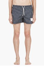 THOM BROWNE Navy Pinstriped Anchor Swim Shorts for men