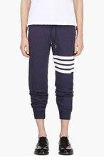 THOM BROWNE Navy Racer Stripe Lounge Pants for men