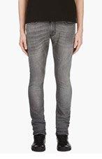 SAINT LAURENT Grey Washed Skinny Jeans for men