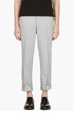 THOM BROWNE LIGHT GREY Crosshatched TROUSERS for men