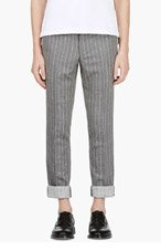 THOM BROWNE Grey Anchor striped Trousers for men