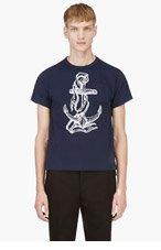THOM BROWNE Navy Piqué Crewneck T-shirt for men