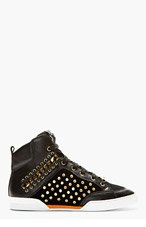 VERSACE Black Eyelet & Chain Embellished High-Top Sneakers for men