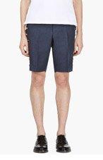 THOM BROWNE Navy Linen Gold-Button Bermuda Shorts for men
