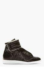 MAISON MARTIN MARGIELA Black Ostrich Skin Future High-Top Sneakers for men