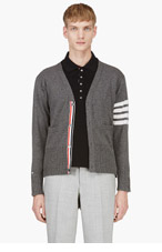 THOM BROWNE Grey Cashmere Racer Stripe Cardigan for men