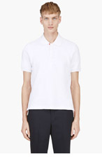 THOM BROWNE White Textured Knit Polo for men