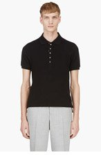 THOM BROWNE BLACK Textured Knit Polo for men