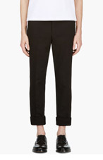 THOM BROWNE Black Slim Fit Canvas Trousers for men