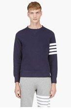 THOM BROWNE Navy Crewneck Racer Stripe Sweatshirt for men