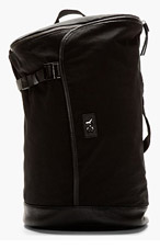 Y-3 Black Pebbled Leather & Canvas Messenger Bag for men