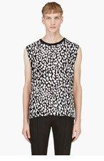 SAINT LAURENT Black Leopard spot painted top for men