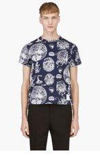 THOM BROWNE Navy Nautical Print T-Shirt for men