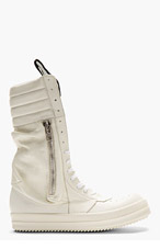 RICK OWENS Ivory Ultra High-Top Pocketed Sneakers for men