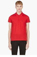 SAINT LAURENT Red Cotton Piqu&eacute Monogrammed Polo for men