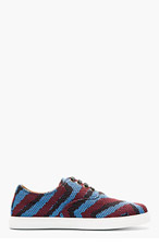 MARC JACOBS Burgundy & blue woven Sneakers for men