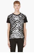 SAINT LAURENT Black Tiger Print T-Shirt for men