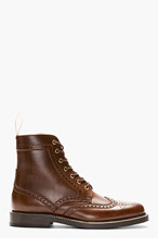 AUTHENTIC SHOE&Co. Brown Ankle High Brogue Boots for men