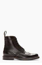 AUTHENTIC SHOE&Co. Black Wingtip Ankle Boots for men