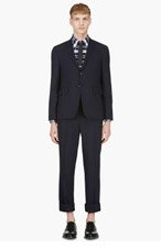 THOM BROWNE NAVY Fine wool BASIC BODY Suit for men