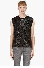 SAINT LAURENT Black Sheen Leopard print T-shirt for men