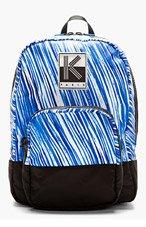 KENZO Blue & White Stripe Print Backpack for men