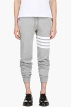 THOM BROWNE Grey Racer Stripe Lounge Pants for men