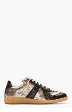 MAISON MARTIN MARGIELA Black & Metallic Low-Top Sneakers for men