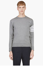 THOM BROWNE Heather Grey Racer Stripe Sweater for men